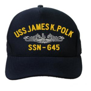 USS James K. Polk SSN-645 Cap with Silver Emblem (Dark Navy) (Direct Embroidered)