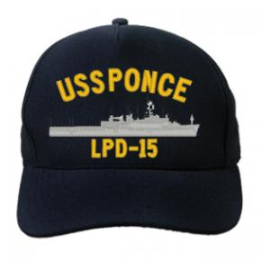 USS Ponce LPD-15 Cap (Dark Navy) (Direct Embroidered)