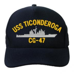 USS Ticonderoga CG-47 Cap (Dark Navy) (Custom Embroidered)