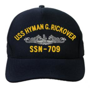 USS Hyman G. Rickover SSN-709 with Silver Emblem (Dark Navy) (Direct Embroidered)
