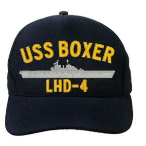 USS Boxer LHD-4 Cap (Dark Navy) (Direct Embroidered)