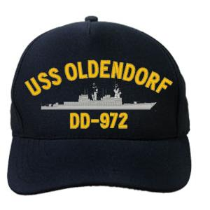 USS Oldendorf DD-972 Cap (Dark Navy) (Direct Embroidered)
