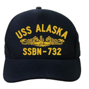 USS Alaska SSBN-732 Cap with Silver Emblem (Dark Navy) (Direct Embroidered)