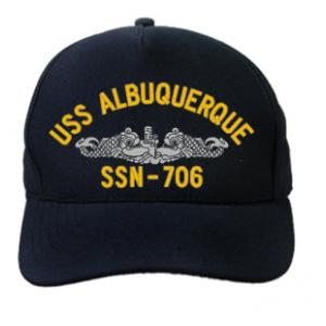 USS Albuquerque SSN-706 Cap with Silver Emblem (Dark Navy) (Direct Embroidered)