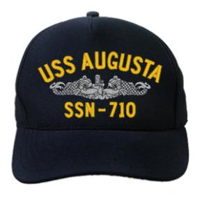 USS Augusta SSN-710 Cap with Silver Emblem (Dark Navy) (Direct Embroidered)