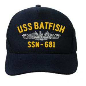 USS Batfish SSN-681 Cap with Silver Emblem (Dark Navy) (Direct Embroidered)
