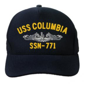 USS Colombia SSN-771 Cap with Silver Emblem (Dark Navy) (Direct Embroidered)