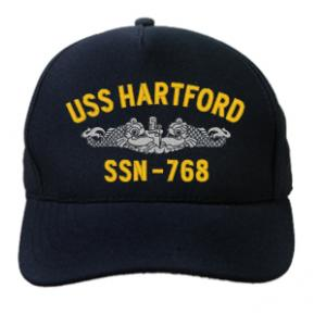 USS Hartford SSN-768 Cap with Silver Emblem (Dark Navy) (Direct Embroidered)