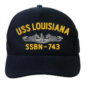 USS Louisiana SSBN-743 Cap with Silver Emblem (Dark Navy) (Direct Embroidered)