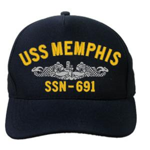USS Memphis SSN-691 Cap with Silver Emblem (Dark Navy) (Direct Embroidered)