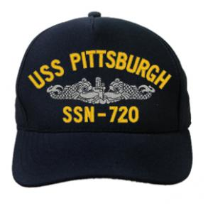 USS Pittsburgh SSN-720 Cap with Silver Emblem (Dark Navy) (Direct Embroidered)