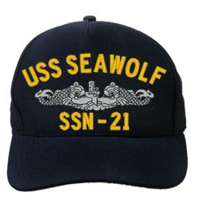 USS Seawolf SSN-21 Cap with Silver Emblem (Dark Navy) (Direct Embroidered)