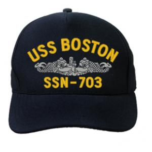 USS Boston SSN-703 Cap with Silver Emblem (Dark Navy) (Direct Embroidered)
