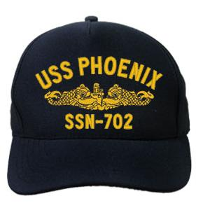 USS Phoenix SSN-702 Cap with Gold Emblem (Direct Embroidered)