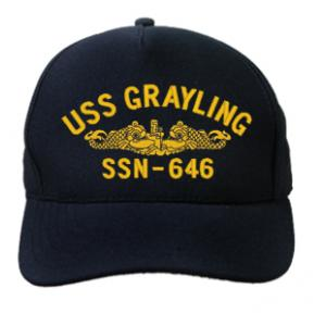 USS Grayling SSN-646 Cap with Gold Emblem (Dark Navy) (Direct Embroidered)