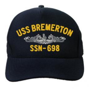 USS Bremerton SSN-698 Cap with Silver Emblem (Dark Navy) (Direct Embroidered)