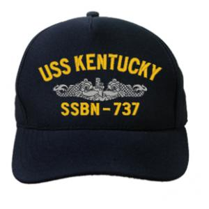 USS Kentucky SSBN-737 Cap with Silver Emblem (Dark Navy) (Direct Embroidered)