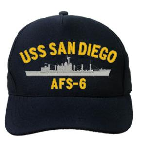 USS San Diego AFS-6 Cap (Dark Navy) (Direct Embroidered)