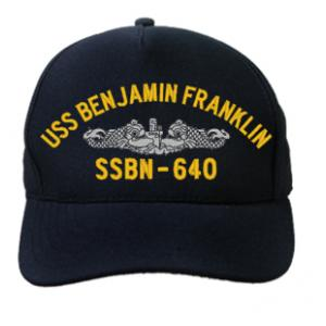 USS Benjamin Franklin SSBN-640 Cap with Silver Emblem (Dark Navy) (Direct Embroidered)