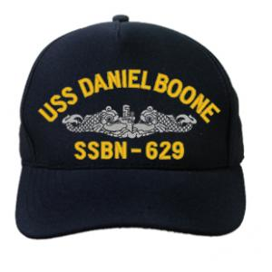 USS Daniel Boone SSBN-629 Cap with Silver Emblem (Dark Navy) (Direct Embroidered)