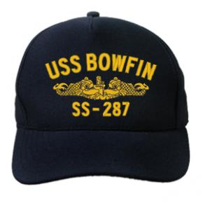 USS Bowfin SS-287 Cap with Gold Emblem (Dark Navy) (Direct Embroidered)