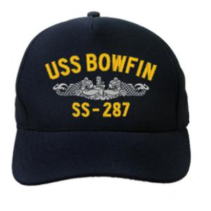 USS Bowfin SS-287 Cap with Silver Emblem (Dark Navy) (Direct Embroidered)