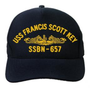 USS Francis Scott Key SSBN-657 Cap with Gold Emblem (Dark Navy) (Direct Embroidered)