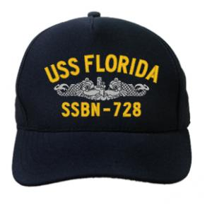 USS Florida SSBN-728 Cap with Silver Emblem (Dark Navy) (Direct Embroidered)