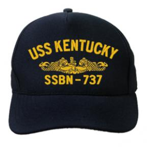 USS Kentucky SSBN-737 Cap with Gold Emblem (Dark Navy) (Direct Embroidered)