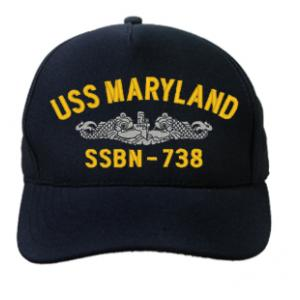 USS Maryland SSBN-738 Cap with Silver Emblem (Dark Navy) (Direct Embroidered)