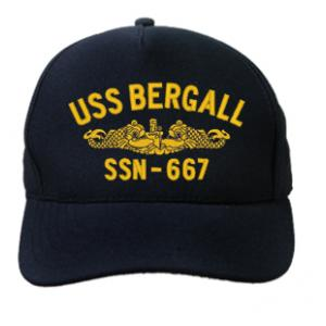 USS Bergall SSN-667 Cap with Gold Emblem (Dark Navy) (Direct Embroidered)