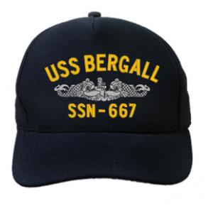 USS Bergall SSN-667 Cap with Silver Emblem (Dark Navy) (Direct Embroidered)