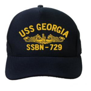 USS Georgia SSBN-729 Cap with Gold Emblem (Dark Navy) (Direct Embroidered)