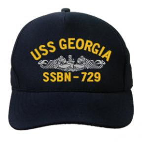 USS Georgia SSBN-729 Cap with Silver Emblem (Dark Navy) (Direct Embroidered)