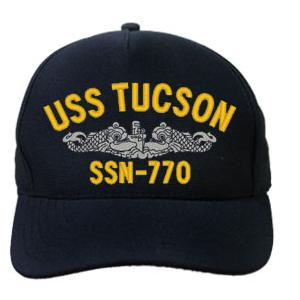 USS Tucson SSN-770 Cap with Silver Emblem (Dark Navy) (Direct Embroidered)