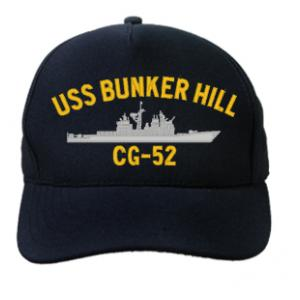 USS Bunker Hill CG-52 Cap (Dark Navy) (Direct Embroidered)