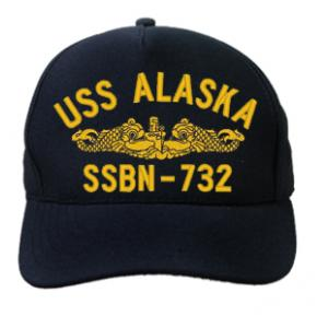 USS Alaska SSBN-732 Cap with Gold Emblem (Dark Navy) (Direct Embroidered)
