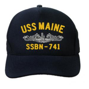USS Maine SSBN-741 Cap with Silver Emblem (Dark Navy) (Direct Embroidered)