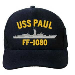 USS Paul FF-1080 Cap (Dark Navy) (Direct Embroidered)