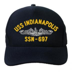 USS Indianapolis SSN-697 Cap with Silver Emblem (Dark Navy) (Direct Embroidered)