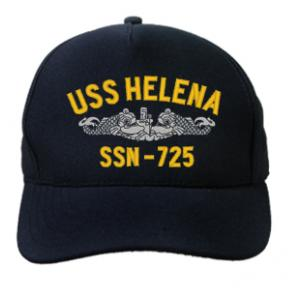 USS Helena SSN-725 Cap with Silver Emblem (Dark Navy) (Direct Embroidered)
