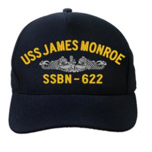 USS James Monroe SSBN-622 Cap with Silver Emblem (Dark Navy) (Direct Embroidered)