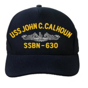 USS John C. Calhoun SSBN-630 Cap with Silver Emblem (Dark Navy) (Direct Embroidered)