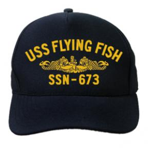 USS Flying Fish SSN-673 Cap with Gold Emblem (Dark Navy) (Direct Embroidered)