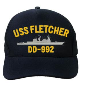 USS Fletcher DD-992 Cap (Dark Navy) (Direct Embroidered)