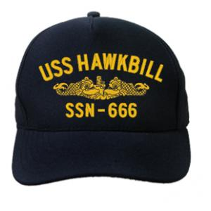 USS Hawkbill SSN-666 Cap with Gold Emblem (Dark Navy) (Direct Embroidered)