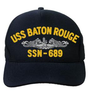 USS Baton Rouge SSN-689 Cap with Silver Emblem (Dark Navy) (Direct Embroidered)