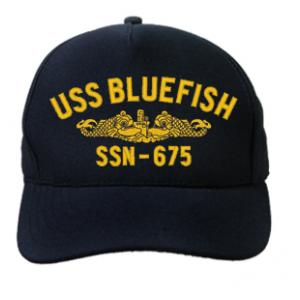 USS Bluefish SSN-675 Cap with Gold Emblem (Dark Navy) (Direct Embroidered)