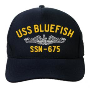USS Bluefish SSN-675 Cap with Silver Emblem (Dark Navy) (Direct Embroidered)