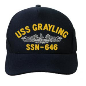 USS Grayling SSN-646 Cap with Silver Emblem (Dark Navy) (Direct Embroidered)